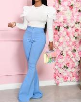Solid Color Woven Flared Pants Suit