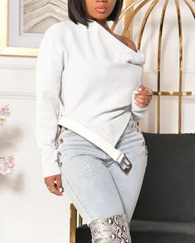 Sloping Shoulder Top With Belt