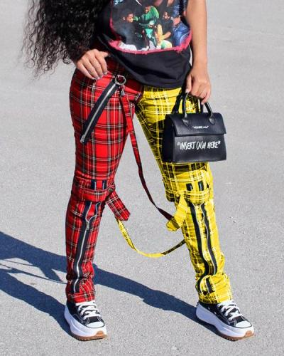 Color Block Plaid Print Zipper Pants
