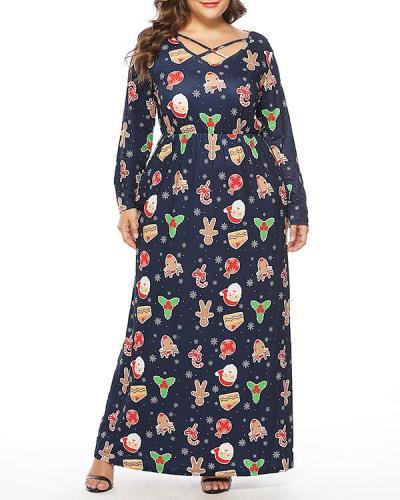 Christmas Print Maxi Dress