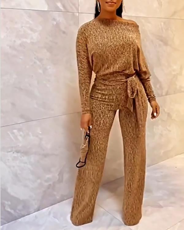 Sequin Solid Color Lace-up Sexy Jumpsuit