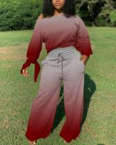 Gradient Top & Drawstring Wide-leg Pants Set