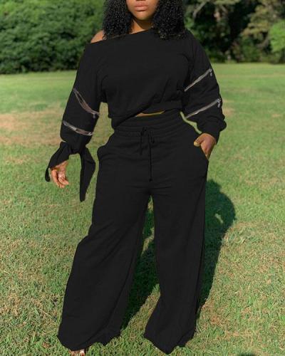 Solid Color Zipper Design Top & Drawstring Pants Set