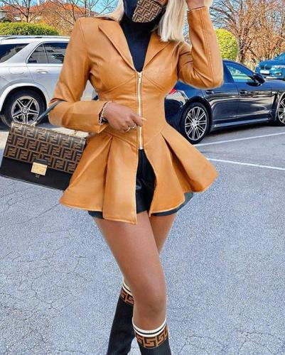 Slim-fit Lapel Zipper Mid-length Casual Imitation Leather Jacket