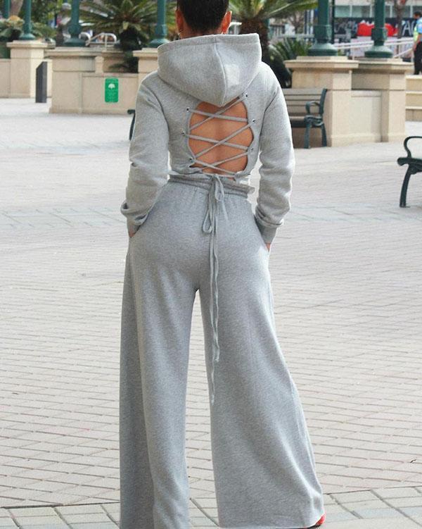 Drawstring Open Back Loose Trouser Legs Two-piece Suit