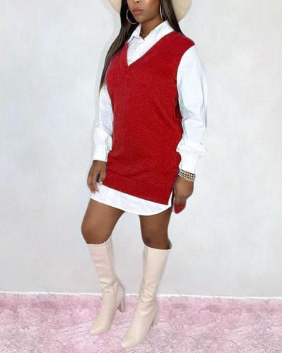 Casual Shirt Dress Fake Two Picec Dress