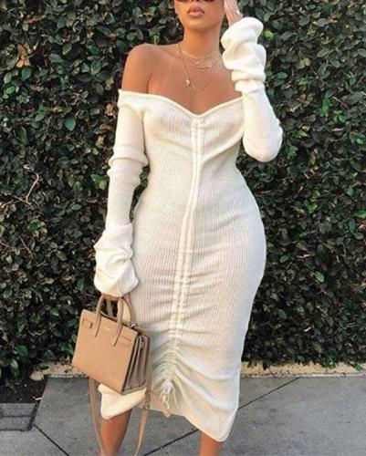 Trendy Dew Shoulder White Mid Calf Dress