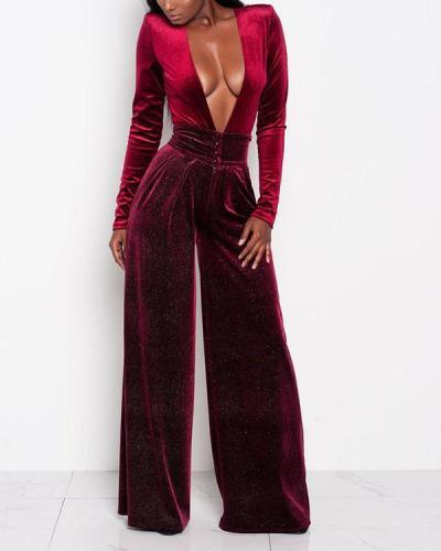 Deep V Sexy Fashion Jumpsuit
