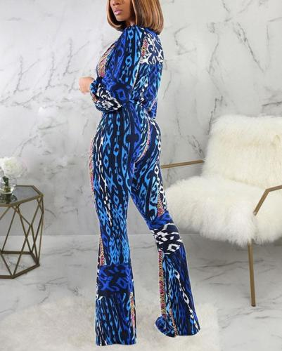 Sexy Fashion Printed Micro Flared Trousers Jumpsuit