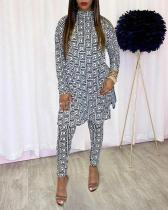 Print Round Neck Split Two Piece Suit