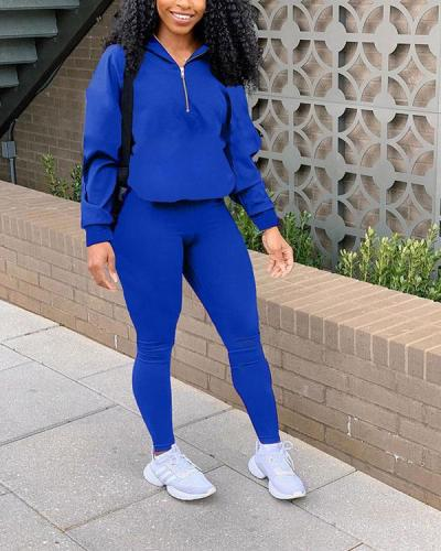 Solid Color Zipper Leisure Sports Two-piece Set