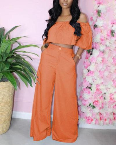 Off Shoulder Top & Wide-leg Pants Set