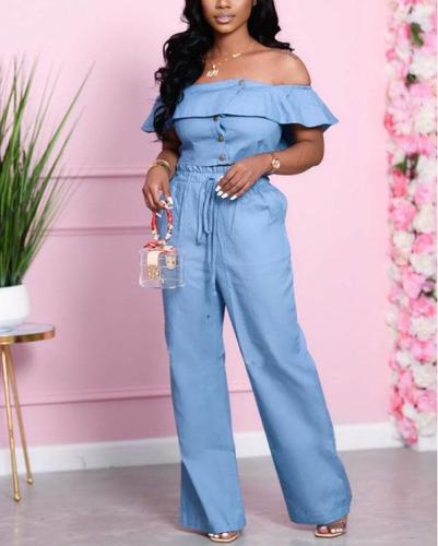 Loose High Waist Wide Leg Pants Denim Two-piece Suit