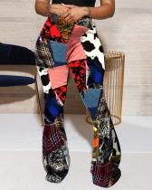 Fashion Color Matching Distressed Casual Trousers Flared Pants