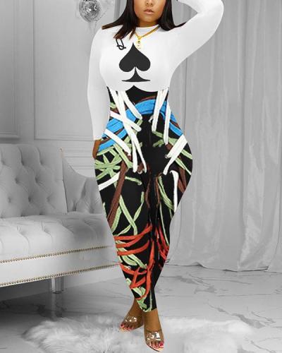 Poker & Stripe Print Long Sleeve Jumpsuit