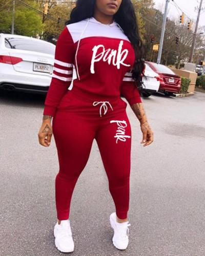 Letter Stitching Sports Hooded Two-piece Suit