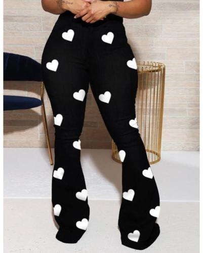 Plus size love printed classic high-waist trousers women's bootcut pants
