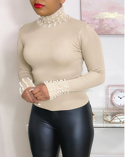 Solid Color Turtle Neck Pearls Top