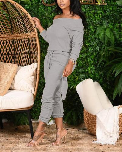 Off Shoulder Drawstring Waist Top & Pants Suits