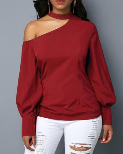 Halter Strapless Slim Buttoned Top Long Sleeve Sweater