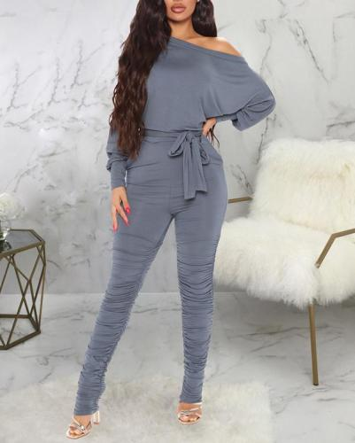 Pure Color Skinny High Stretch Pleated Jumpsuit