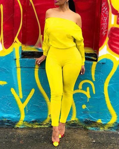 Sexy Solid Color Double Zipper Oblique Shoulder Jumpsuit