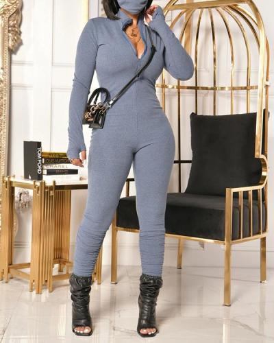 Solid Color Zipper Jumpsuit