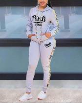 Letter Print Split Joint Hooded Collar Long Sleeve Two Pieces Suits