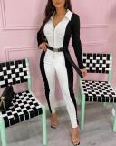 Slim High Waist Lapel Jumpsuit(no Belt)