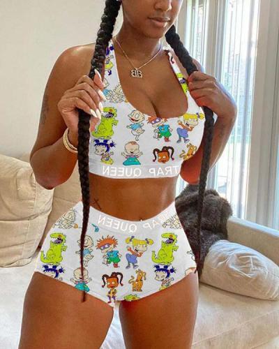 Sexy Fashion Vest Shorts Print Set
