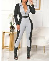 Slim High Waist Lapel Jumpsuit(no Belt)