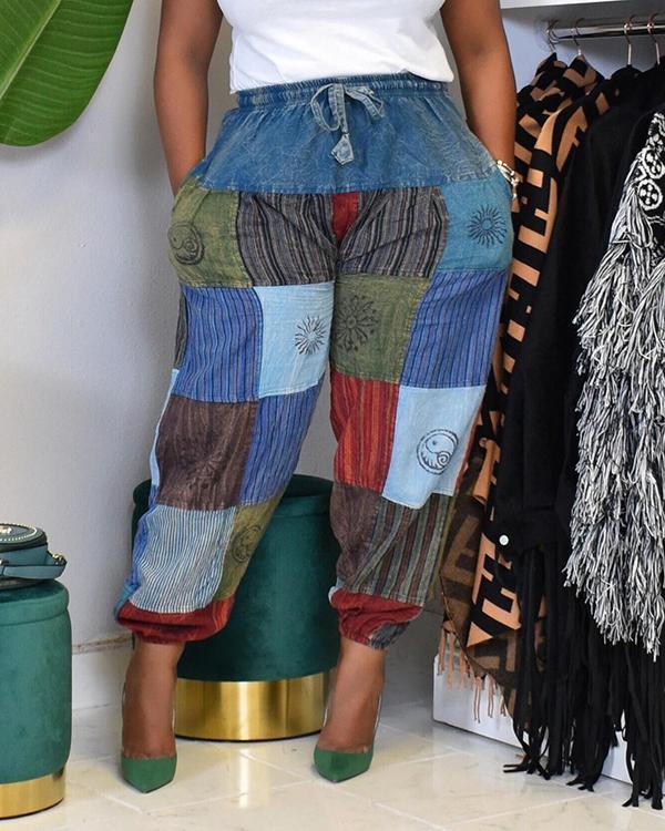 Denim Imitation Cotton Print Patchwork Jogger Pants