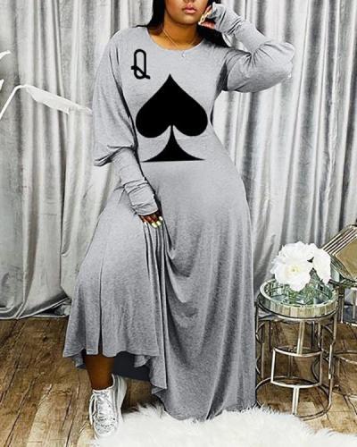 Q-Print Loose Long Dress
