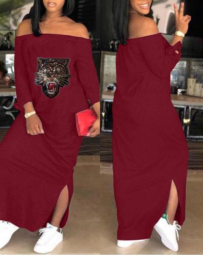 One-neck Sequined Tiger Head Print Sides Slited Dress