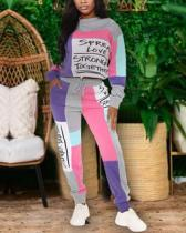 Letter Stitching Print Sweater Two-piece Suit