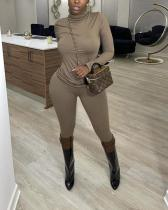 Solid Color Casual Turtleneck Loose Two-piece Suit