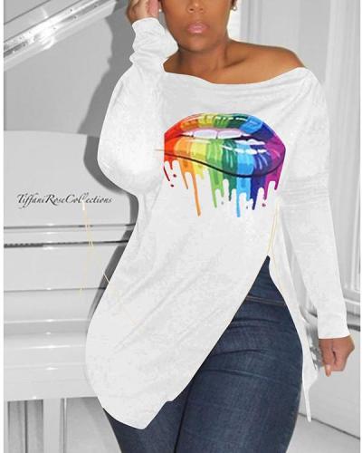 Fashion Oblique Shoulder Irregular Sweater T-shirt