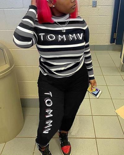 Striped Letter Print Casual Pants Suit
