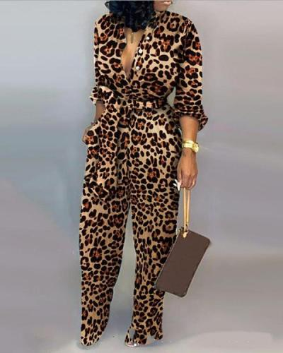Leopard Print Long Sleeve Jumpsuit