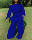 Solid Sweatshirt & Wide-Leg Pants Set