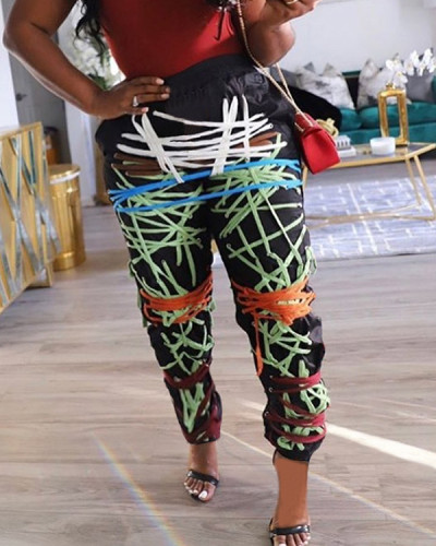 High Waist Casual Sports Print Contrast Pants