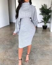 Turtleneck Sweater Dress Two-piece Suit