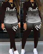 PINK Letter Print Casual Two-piece Suit