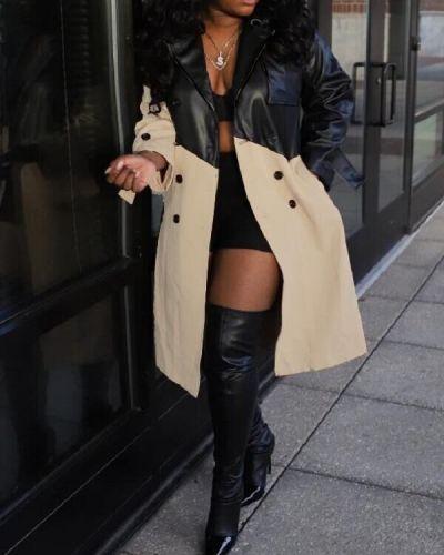 Street Patchwork Button Design Black Leather Coat