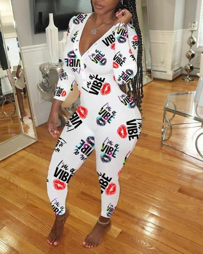 Sexy Deep V-neck Printed Slim Homewear Pants Jumpsuit