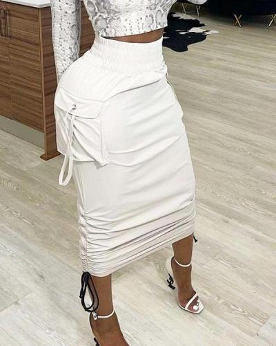 Solid Color High Waist Pleated Lace-up Pencil Skirt
