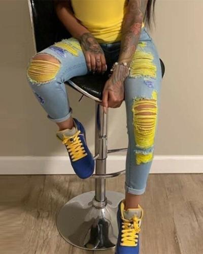 Fashion Casual Stitching Ripped Jeans