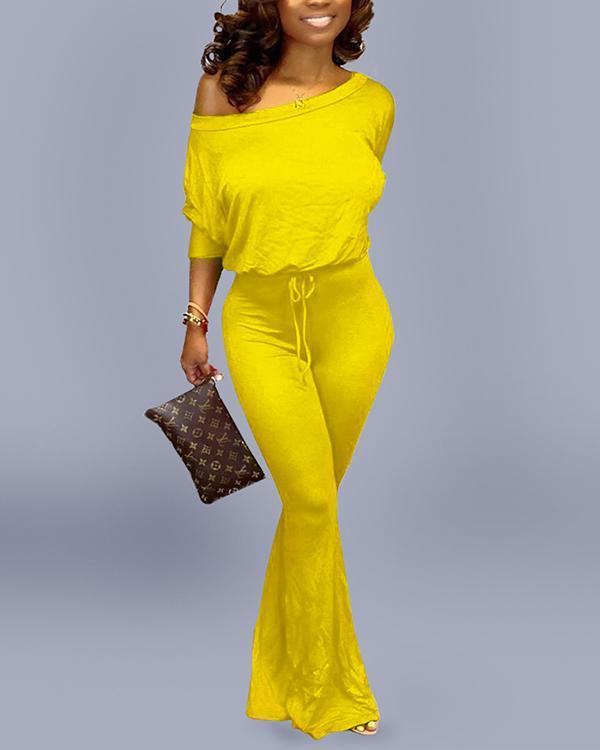 Fashion Casual Solid Color Bat Sleeve Jumpsuit