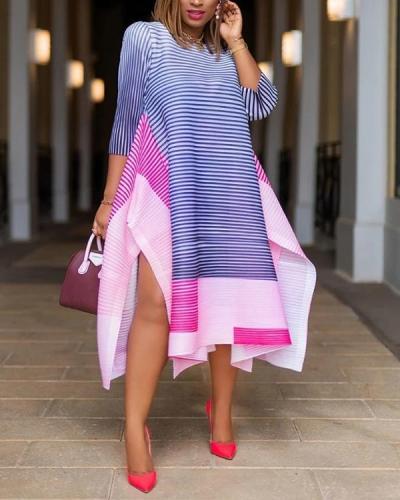 Fashion Striped Print Stitching Loose Dress