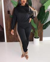 Daily Solid Tassel O Neck Plus Size Sets